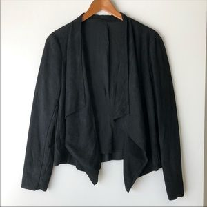 Lush Black Faux Suede Tiered Open Moto Jacket